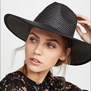 Madewell Wide-Brimmed Straw Beach Hat Sunhat Black